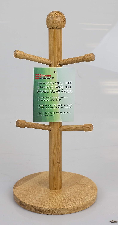 Home Basics MT44374 Bamboo Mug Tree 6.5 x 6.5 x 14.25