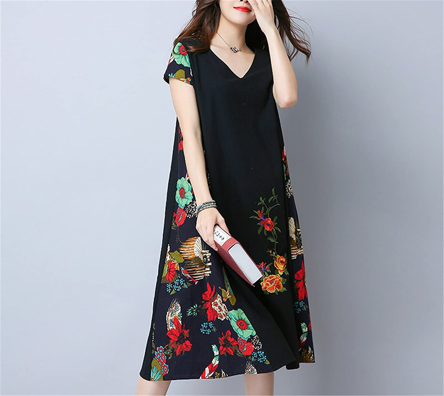 Amazon.com: WalterTi cotton linen vintage print loose dress vestidos femininos dresses: Clothing