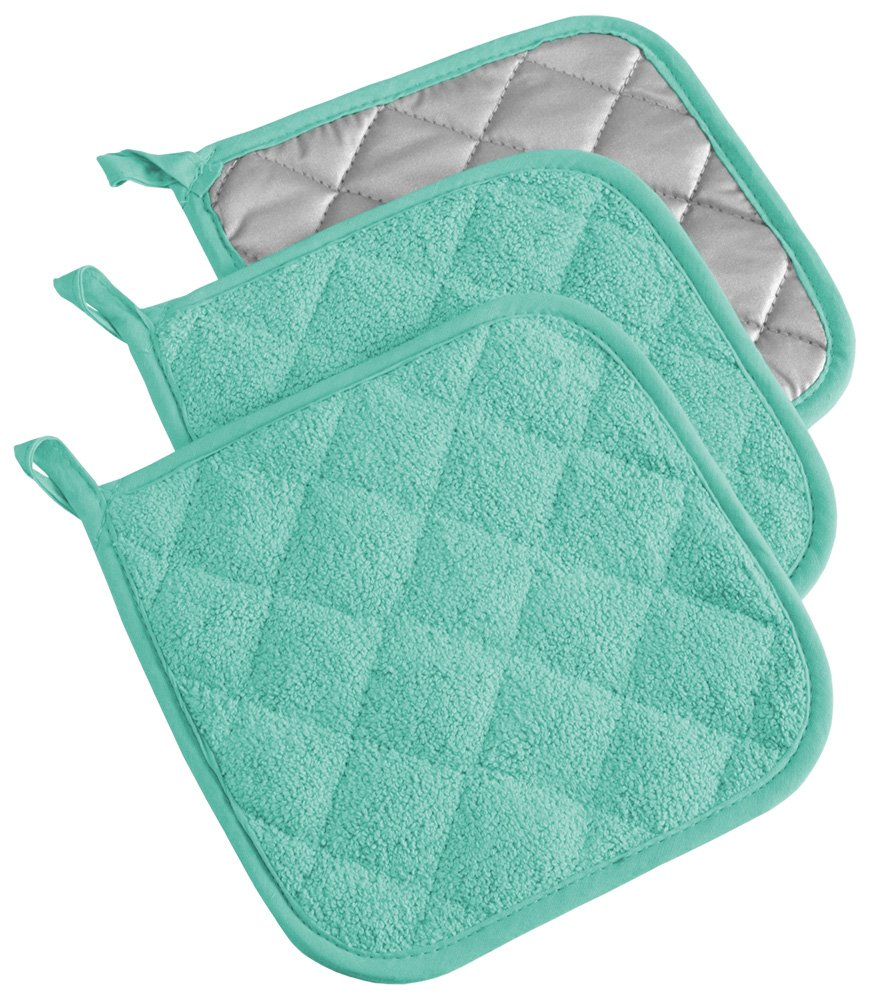 DII, Cotton Terry Pot Holders, Heat Resistant and Machine Washable, Set of 3, Aqua