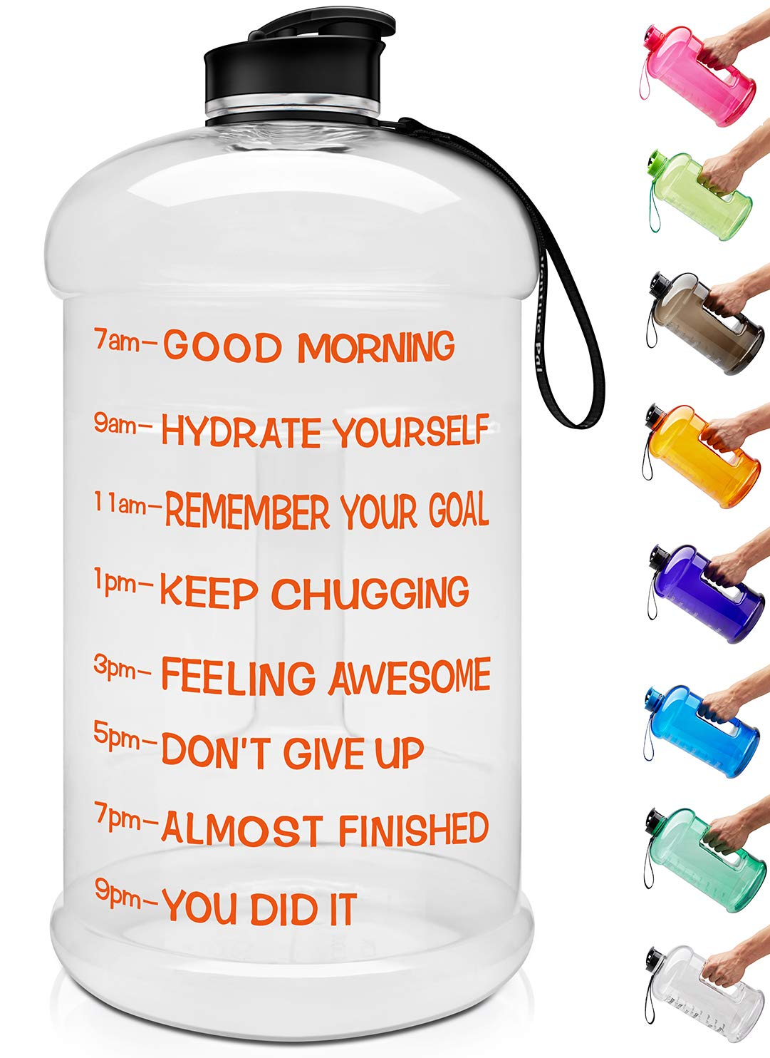 Venture Pal Large 1 Gallon/128 OZ & 74 OZ Motivational Leakproof BPA Free Water Bottle with Time Marker Perfect for Fitness Gym Camping Outdoor Sports-1Gallon-Transparent-Orange