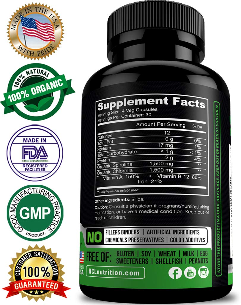 Chlorella Spirulina Organic 3000 Mg Of Purest Non