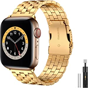 Hallsen Compatible with Apple Watch Bands 44mm 42mm, Upgraded Solid Stainless Steel Metal Apple Watch Band iWatch Replacement Strap for Apple Watch Series 6/5/4/3/2/1/SE (Gold, 42/44mm)