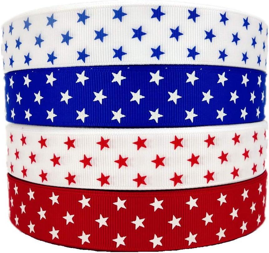 5-Yard 3//8-Inch Patterned Stars Patriotic Ribbon