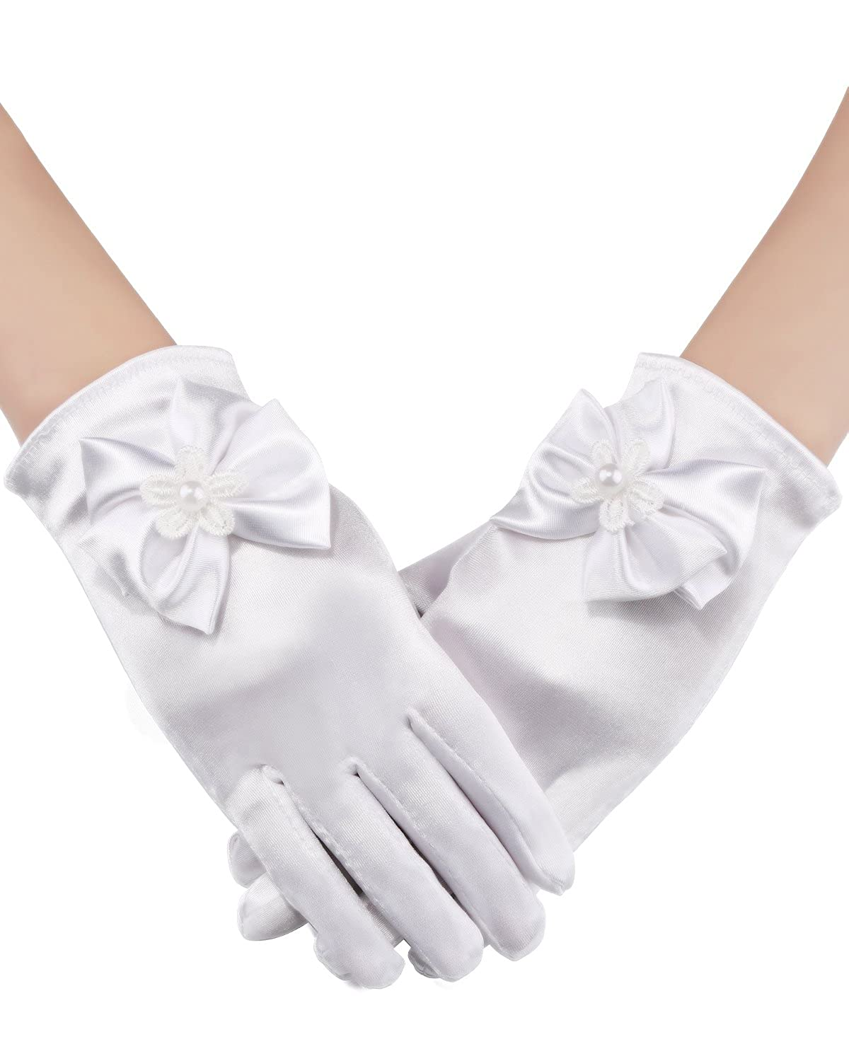 Sumind Girls Satin Gloves Kids Size Formal Gloves Bow Knot Pearl Glove for Wedding Pageant Parties, White (Wrist Length)