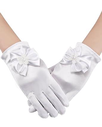 Amazon.com: sumind niña guantes de satén guantes de tamaño ...