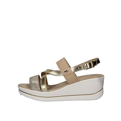 prese di fabbrica design raffinato colore attraente VALLEVERDE 32352 Sandali Scarpe Donna Fibbia Cinturino Pelle Vernice  Platino Oro