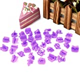 SKR 40 Pcs Fondant Icing Letter Cutters Alphabet and Number Icing Cutout Cake Decorating Set DIY Tool