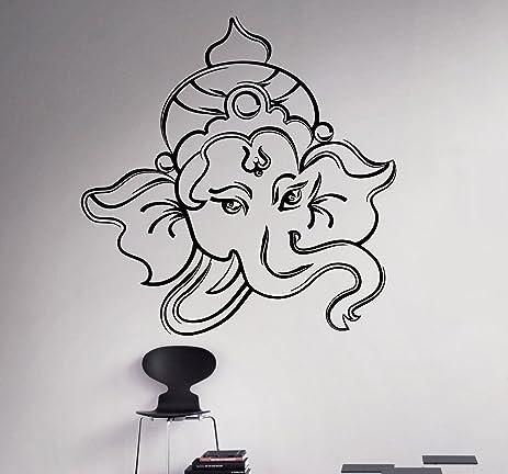 Hindu God Ganesha Wall Decal Elephant Vinyl Sticker Hinduism Home - Custom vinyl decals india