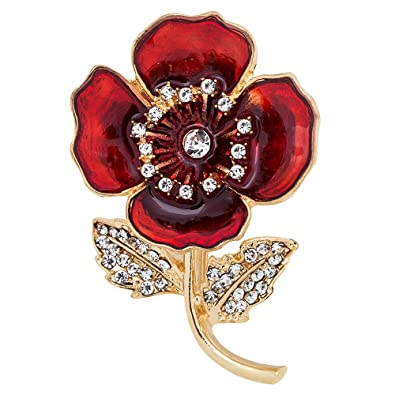 FENGJI Poppy Flower Brooches for Women Remembrance Poppies Pins Rhinestone Brooch Badge Gift zCRcRFTW