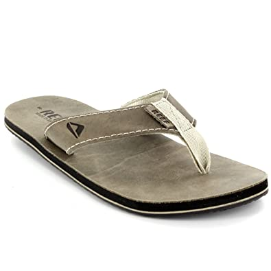 2624c4c28420 Reef Mens Smoothy Leather Surfing Holiday Surf Flip Flops Beach Sandals UK  7-12