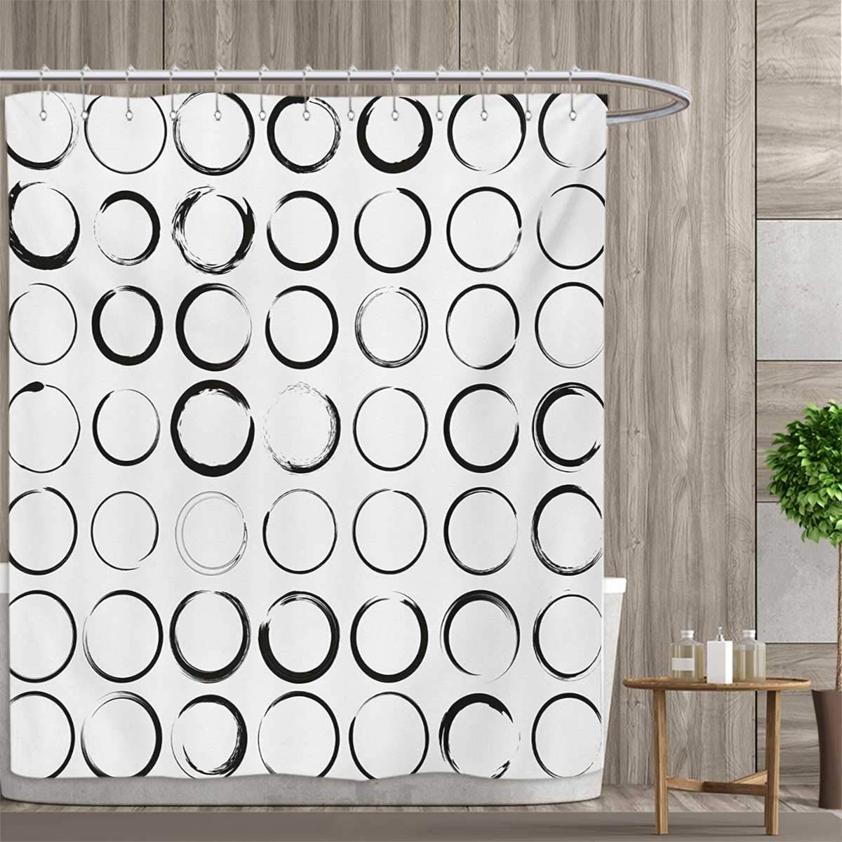 color01 54 x 72 (inch) color01 54 x 72 (inch) smallfly Black and White Shower Curtains Sets Bathroom Circles with Brush Stroke Effects Artistic Hand Drawn Grunge Style Design Satin Fabric Sets Bathroom 54 x72  Black White