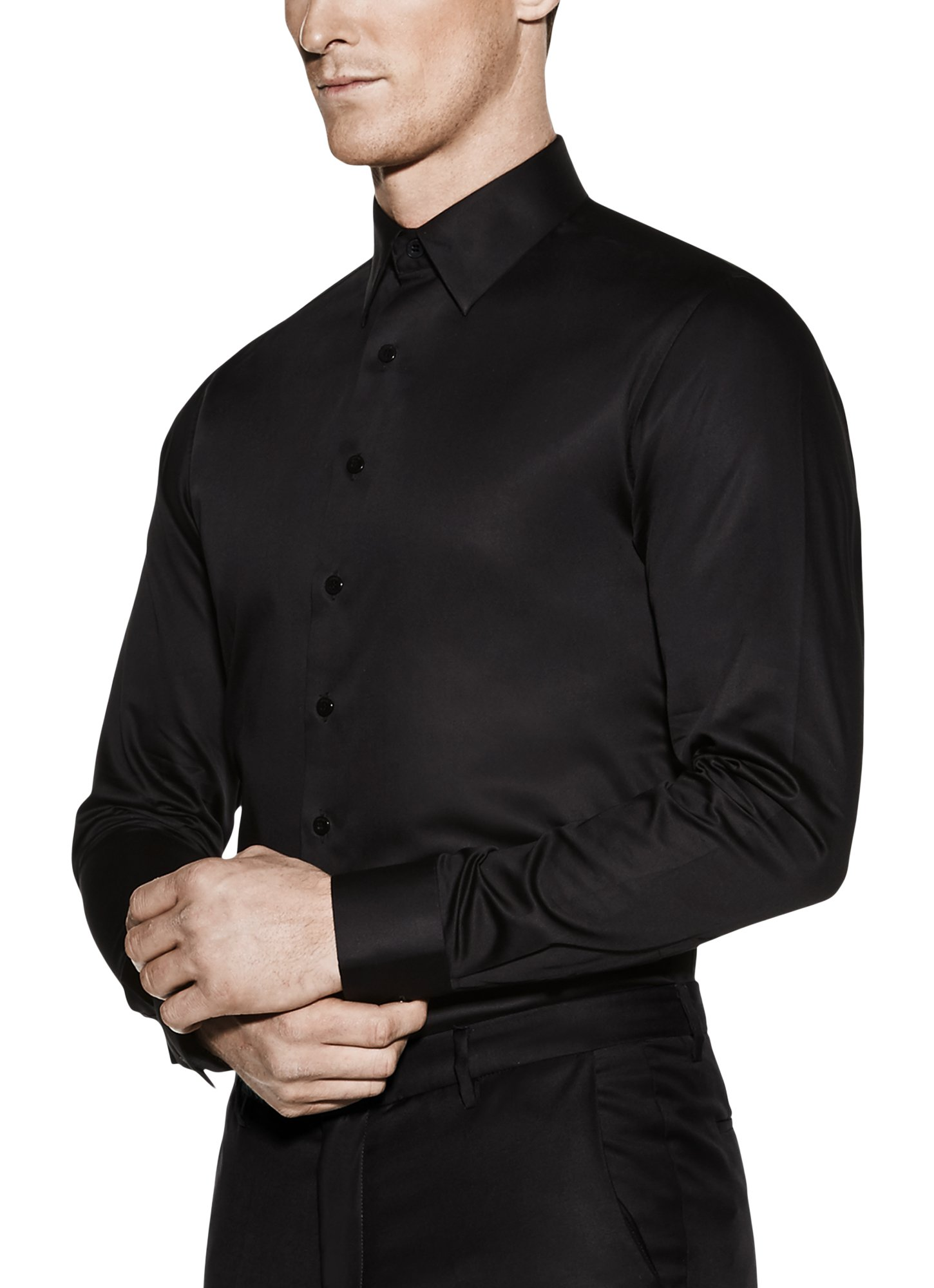 Vardama Men's Performance Black Formal Shirt With Stain Resistant Technology Satin Finish Astor Pl (Small)