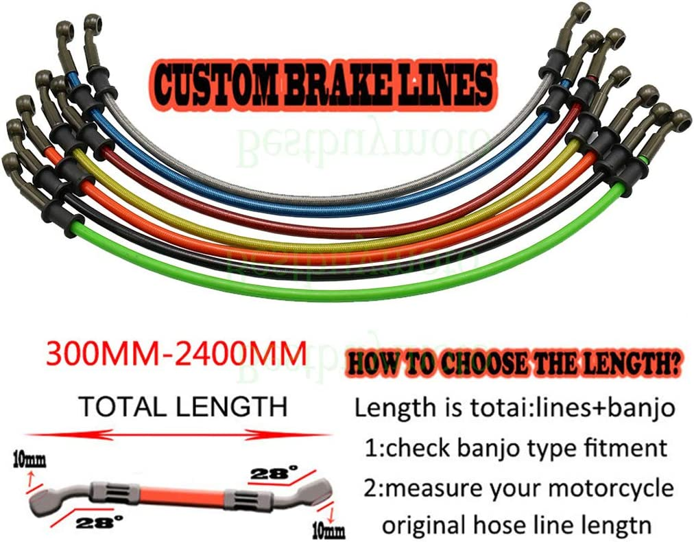 Customized Motorcycle Dirt Bike Braided Steel Hydraulic Reinforce Brake line Clutch Oil Hose Tube 300-2400mm 120cm