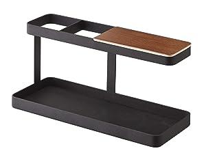 YAMAZAKI home Tower Desk Bar - Wood & Steel Organizer, Black