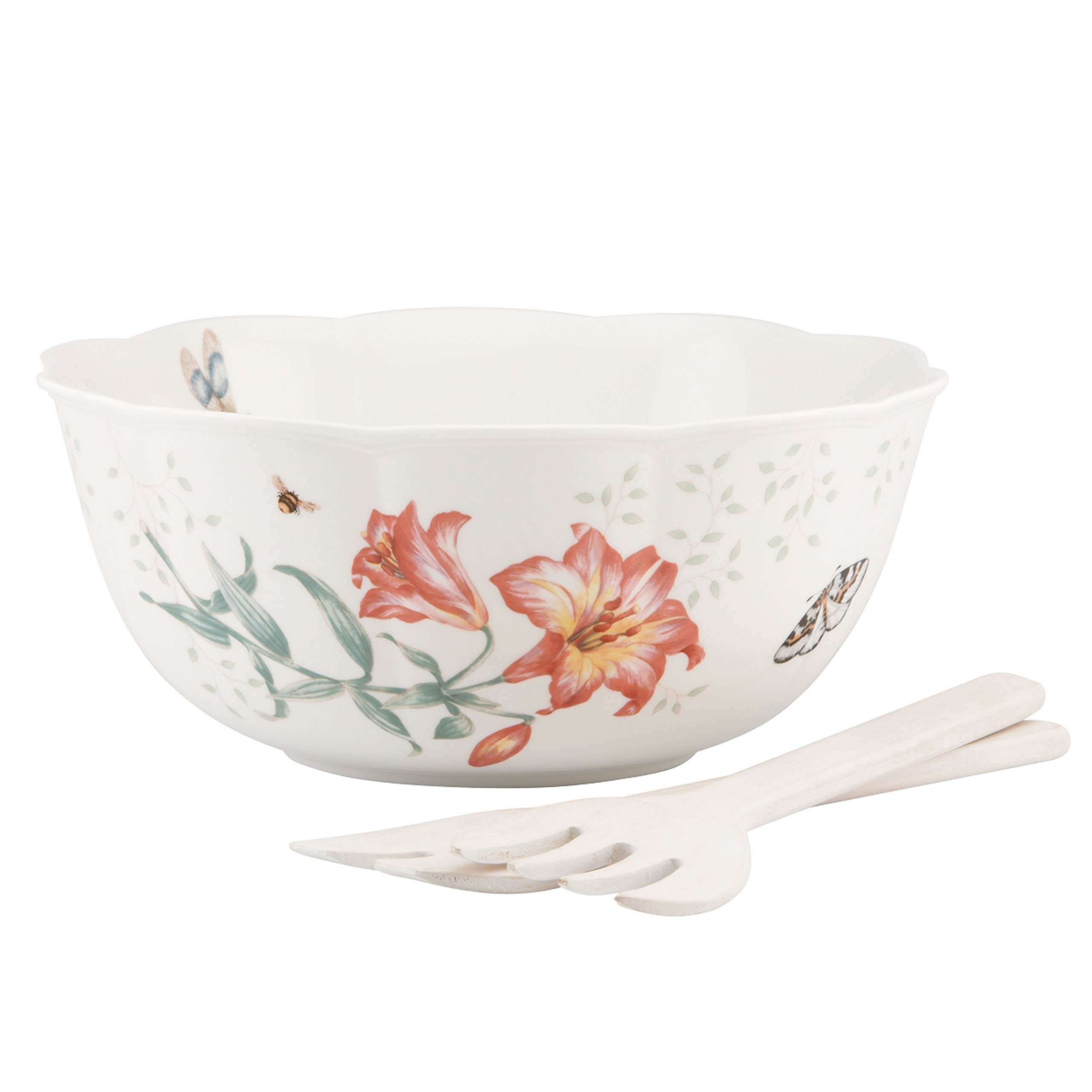 Lenox Butterfly Meadow Salad Bowl with Wood Servers by Lenox