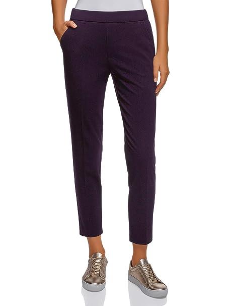 oodji Ultra Mujer Pantalones Ajustados con Elástico  Amazon.es  Ropa y  accesorios fa2bd0325d7f