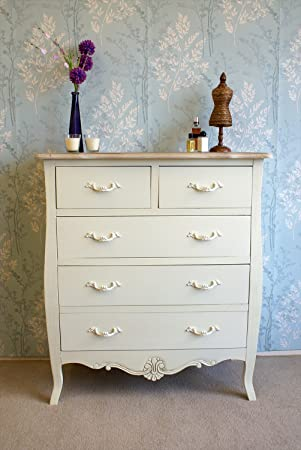 Cream Painted Shabby Chic Devon 5 Drawer Chest Drawers in French ...