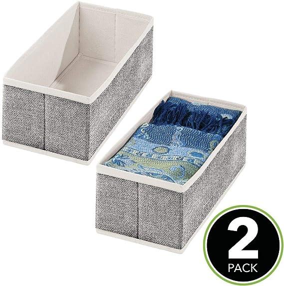 mDesign Juego de 4 cestas organizadoras Accesorios y Joyas Color Lino Cestas Plegables de Fibra sint/ética Transpirable Pr/ácticos separadores de cajones para Ropa Interior