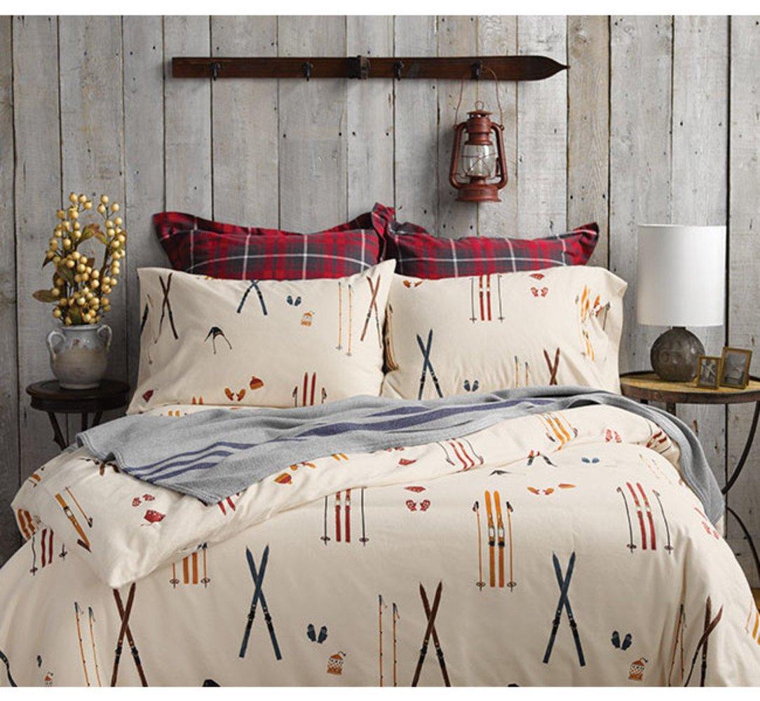 good Orvis Comforter Part - 13: Amazon.com: Orvis Vintage Skis Flannel Sheet Set, Duvet Cover Sham-Only  King Sheet Set, King: Home u0026 Kitchen