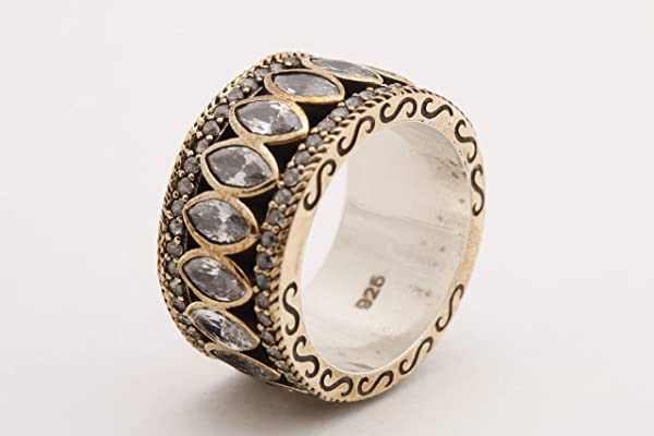 Turkish Handmade Jewelry Marquise Cut Shiny Topaz 925 Sterling Silver Band Ring Size Options