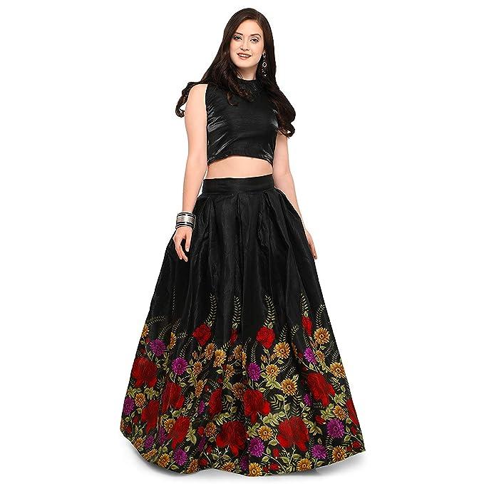 ffdd6b49d3b Fast Fashions Women's Pink Heavy Embroidered Taffeta Silk Lehenga Choli  (Pink_Free Size) (Pink) (Black): Amazon.in: Clothing & Accessories