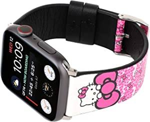 Lovely Style Watch Band Strap Cute Dressy Leather Wristband Bracelet Compatible with 40mm 38mm Apple Watch SE/Series 6/5/4/3/2/1 (Pink/White)