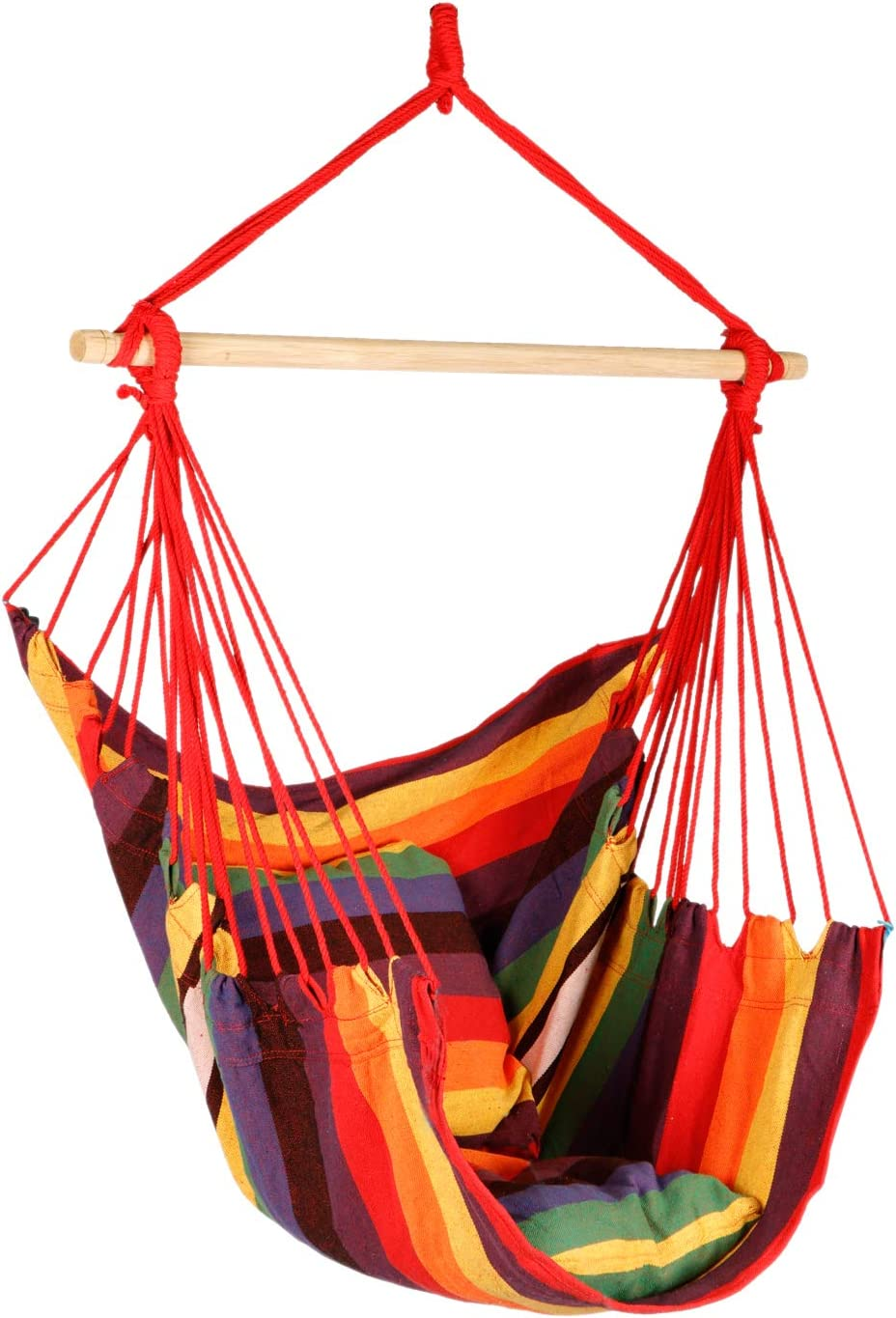 Bathonly Hanging Rope Hammock Chair, Hanging Rope Chair Swings, 2 Seat Cushions Included, Max.265 Lb