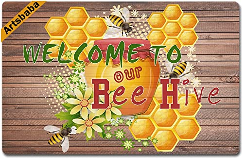 Artsbaba Doormat Welcome to Our Bee Hive Door Mat Monogram Non-Slip Rubber Doormat Non-Woven Fabric Floor Mat Indoor Entrance Rug Decor Mat 23.6 x 15.7 Inches