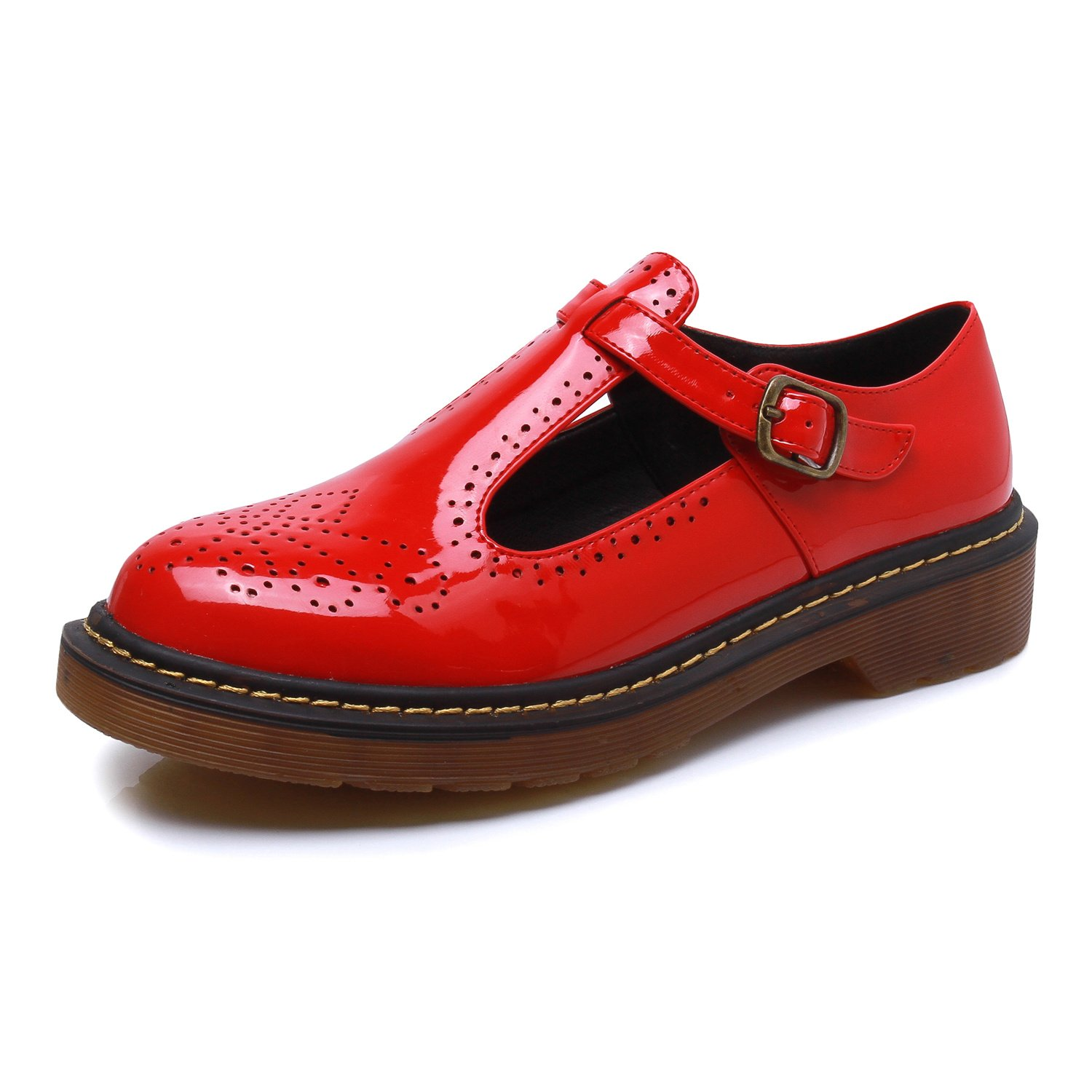 Smilun Women¡¯s Deby Oxford Brogues Shoes Pantent Leather Classic Lace-Up Flats Loafer or Women Red Size 7.5 B(M)US