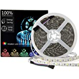 SUPERNIGHT LED Light Strip Waterproof RGBW, RGB + Warm White, 16.4ft/5M SMD 5050 Mixed Color Changing 300 LEDs Flexible Rope