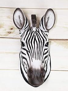 "Ebros Madagascar Safari Zebra Horse Bust Wall Decor Savanna Grassland Wildlife Wall Mount Sculpture Plaque 9.5"" Tall"