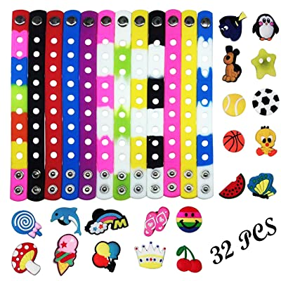 Seasonsky 7 Ihch 12 Colors Kid Silicone Bracelet with 20 Different Shape Shoes Charms, Surprised for Wristband Bracelet, DIY Bracelet, Kid's Party Gifts: Toys & Games