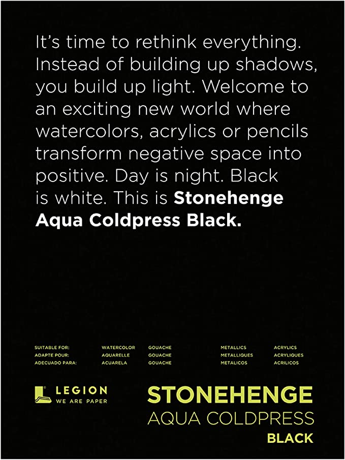 Cold Press Black Paper 9 by 12 Inches 140lb Legion Stonehenge Aqua Watercolor Pad L21-SQC140BK912 15 Sheets