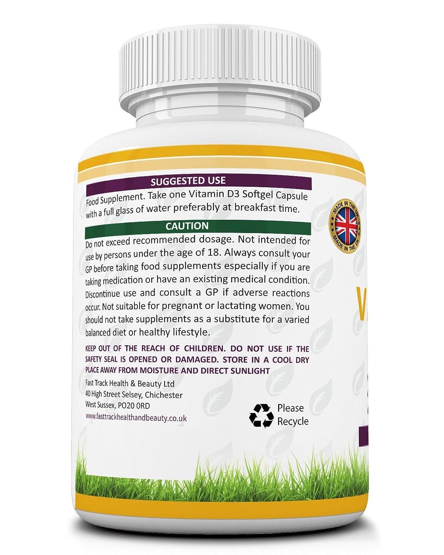 Vitamina D3 10.000 IU 365 Cápsulas (suministro para el año completo) por VIP Health - Vitamina D de alta resistencia la Vitamina del Sol 10.000 UI D-3: ...