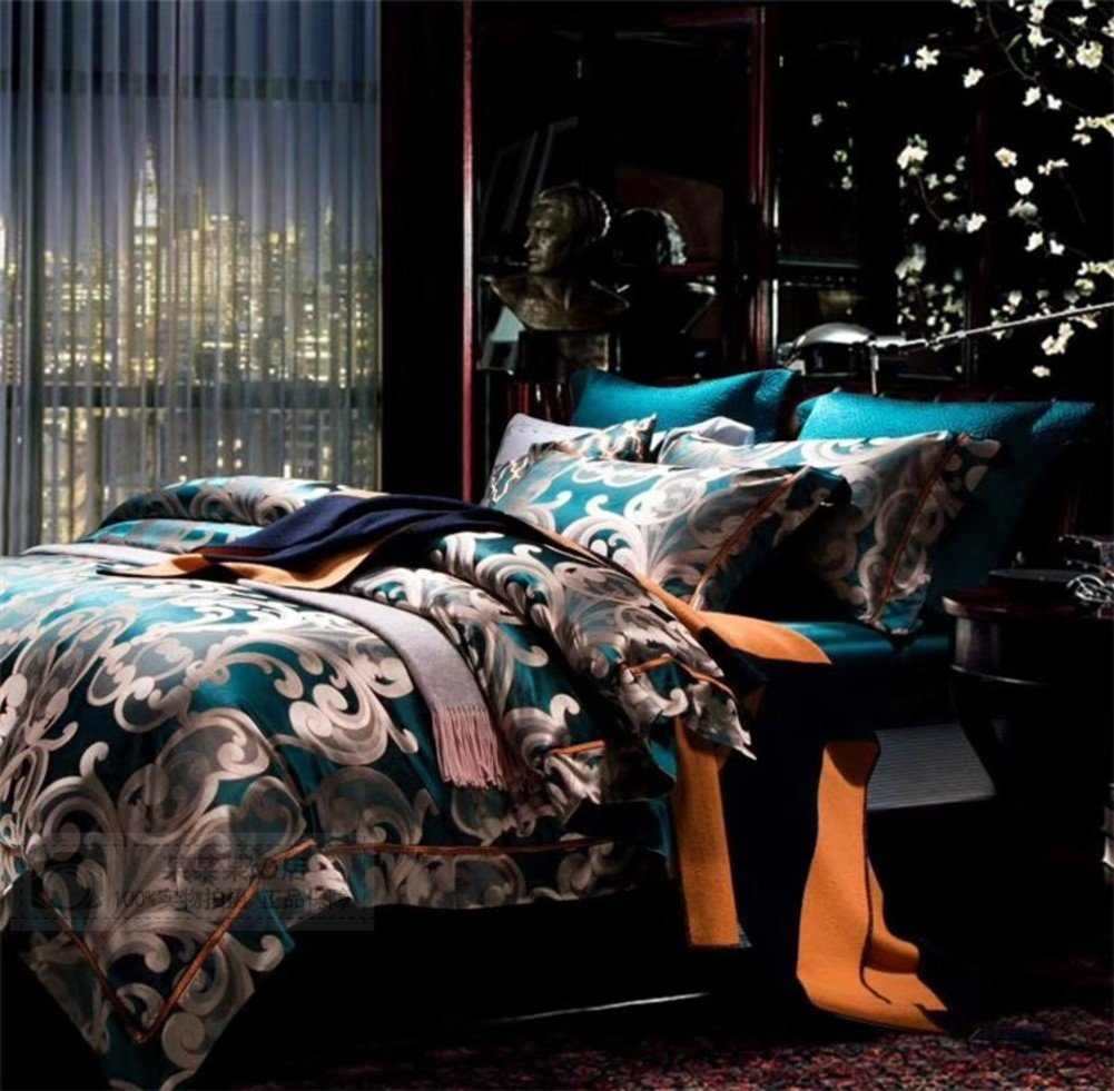 SL&CL European Luxury Silk Four-Piece Suit,Jacquard Four-Piece Fade Resistant Solid Color Hotel Quality Fabric Quilt Cover-A by SL&CL