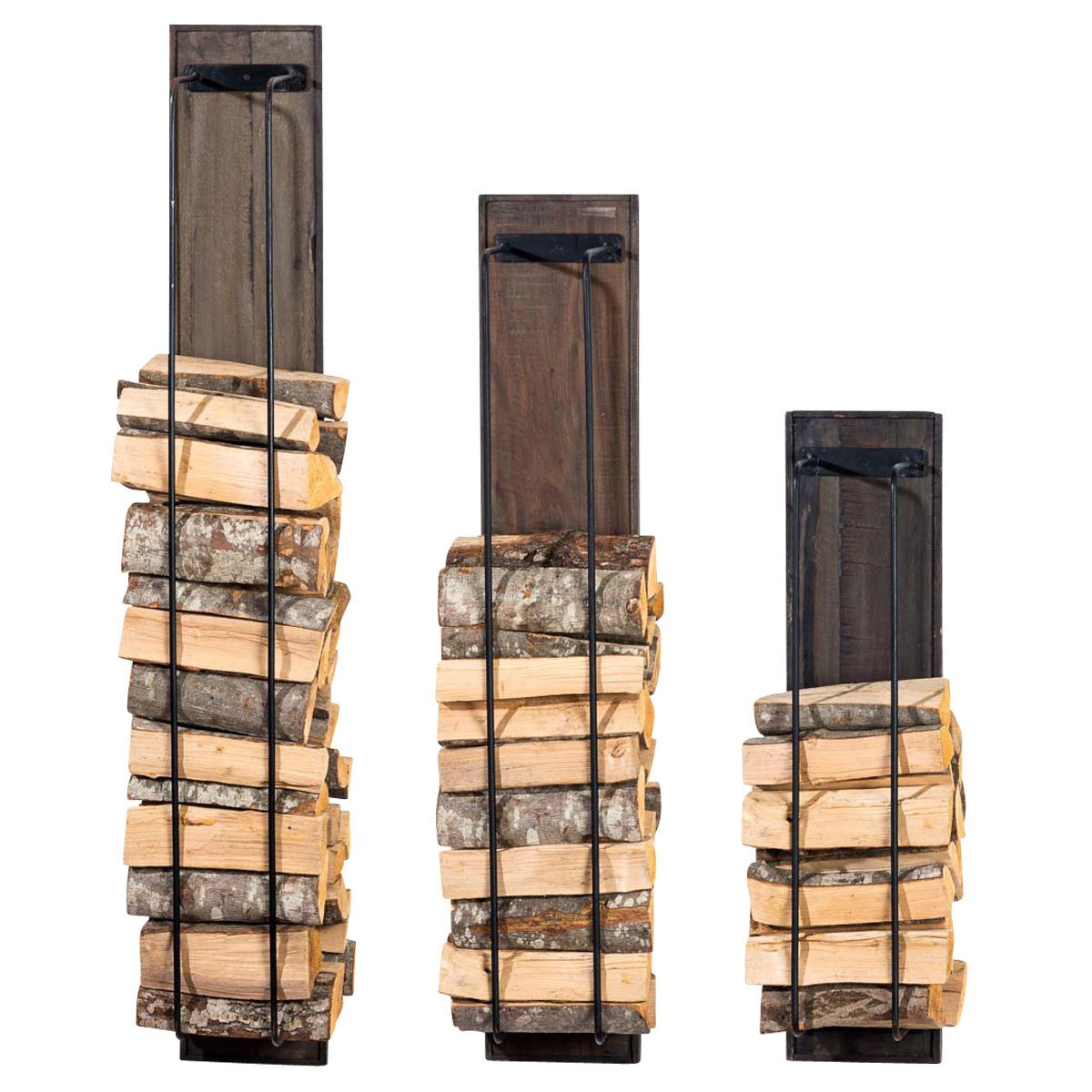 CLP Firewood rack HOUSTON made of wood, fire wood rack for wall mounting, log holder with iron crossbars, sturdy construction 22 x 23 x 93 cm