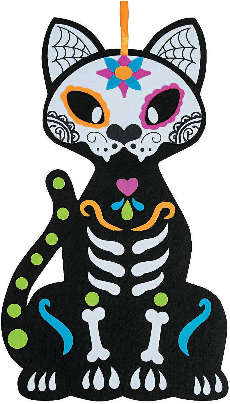 Day of the Dead Cat Wall Decoration Decor - over 2 feet tall - Dia de Muertos and Halloween Party Supplies