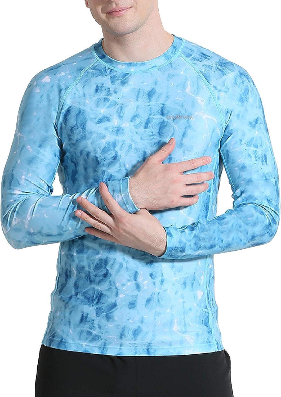 HISKYWIN Men's UPF 50+ UV Sun Protection T-Shirt Outdoor Long & Short Sleeve Sun Shirt