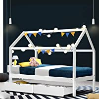 Artiss Single Bed Frame   Timber Kids House Bed with Underneath Storage Drawers   White