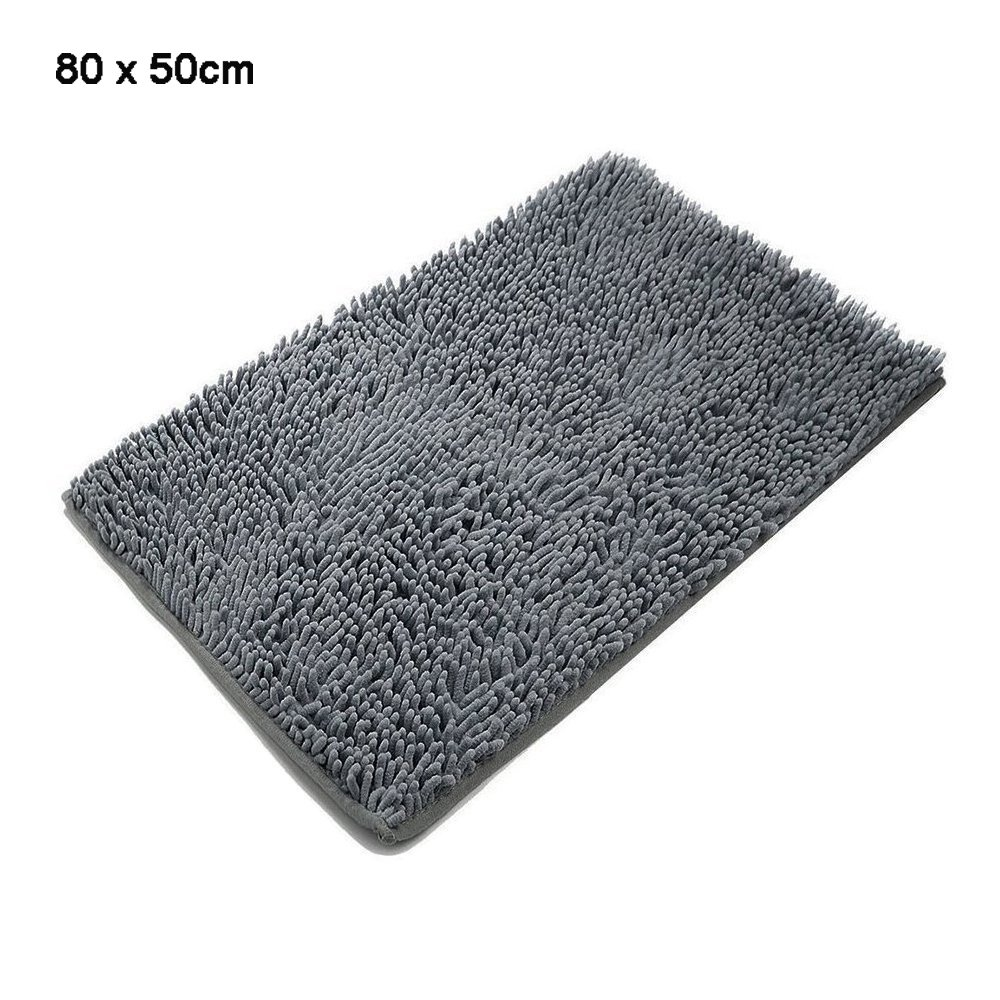 SKL Bathroom Rugs, Non-slip Absorbent Microfiber Shag Bath Mats Soft Shower Rug (60 * 40CM, Grey)