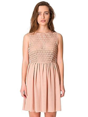 3fbfbc3d2bfda American Apparel Sleeveless Lace Chiffon Dress - Tan   S  Amazon.co.uk   Clothing