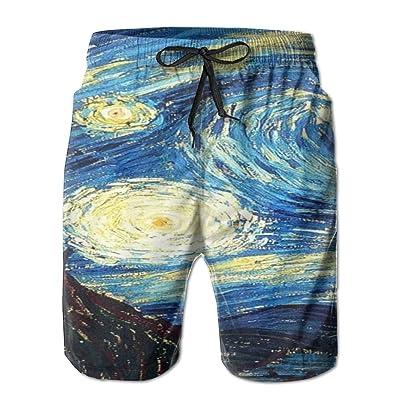 Usieis Starry Night Surfing Pocket Elastic Waist Men's Beach Pants Shorts Beach Shorts Swim Trunks