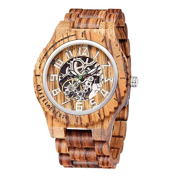 Reloj de Madera de Lujo para Hombre de Madera, Mesa de Metal ...