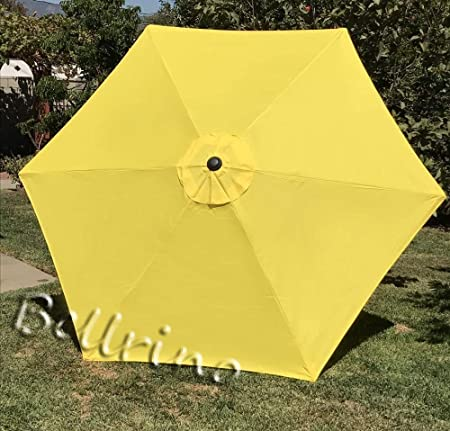 BELLRINO DECOR Replacement YELLOW STRONG THICK Umbrella Canopy for 9ft 6 Ribs YELLOW Canopy Only