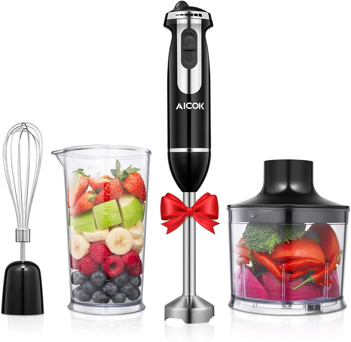 Aicok Hand Blender, 4 in 1 Immersion Blender with Mixing Beaker(800ml), Chopper, and Whisk, 12-Speeds, Multifunctional Blender with Anti-Splash Blade, BPA Free (Renewed)