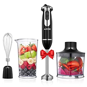 Aicok hand blender, 4 in 1 immersion blender with mixing beaker(800ml), chopper, and whisk, 12-speed, multi-purpose blender with anti-splash design blade, BPA free attachments