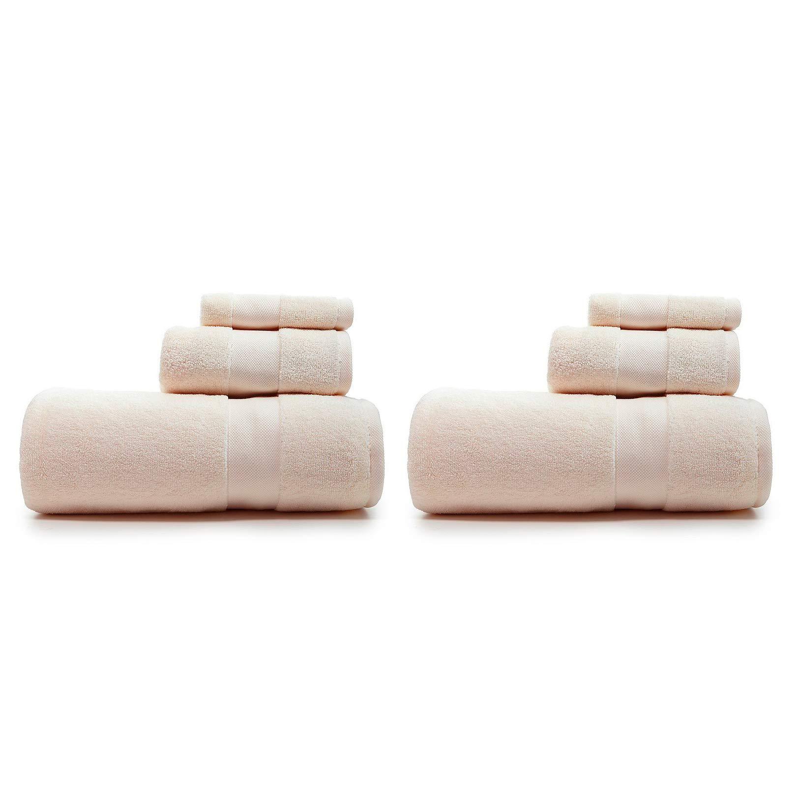 Lauren Ralph Lauren Wescott Linen Cream Towel 6 Piece Set Bundle - 2 Bath Towels, 2 Hand Towels, 2 Washcloths