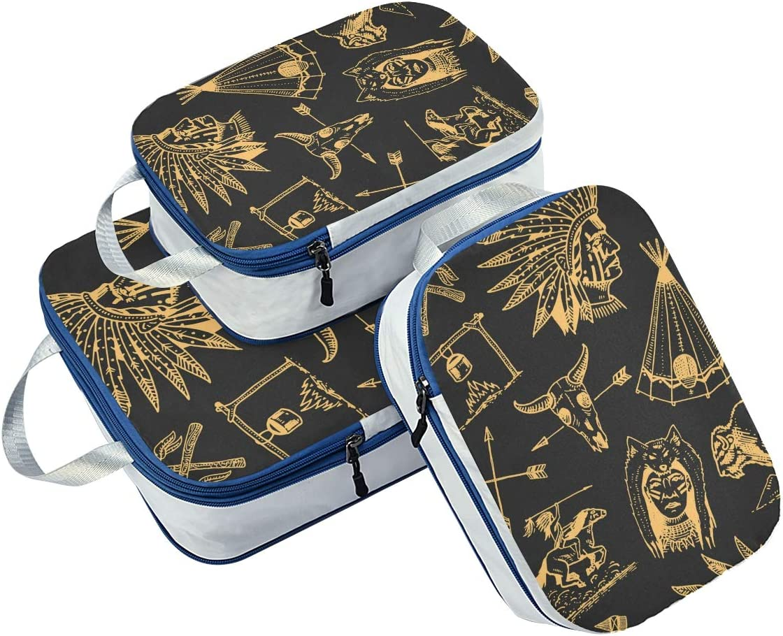 r Indian Arrows And Skull Pattern 3 Set Packing Cubes,2 Various Sizes Travel Luggage Packing Organizers