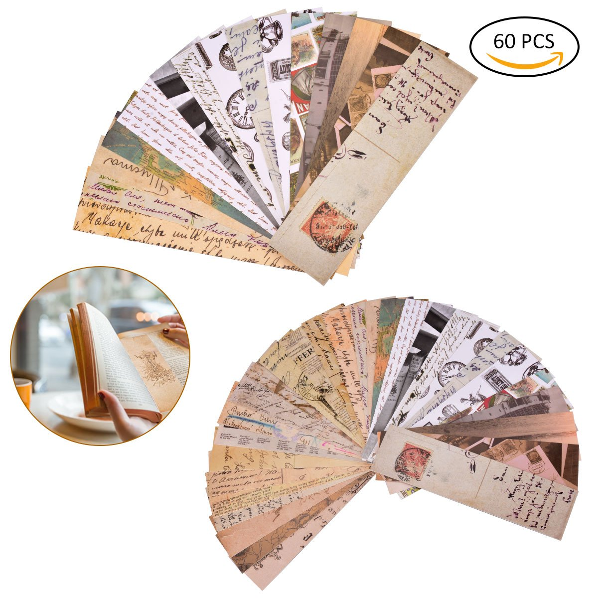 YoungRich 60 PCS Bookmarks Vintage Style Retro Collection Durable Unique Elegant Designs Bookmarks for Women Men Books School Office Note Card Gifts