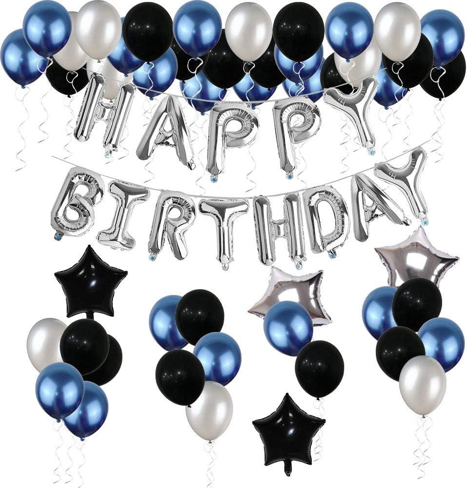 Decoración De Cumpleaños Suministros De Fiesta De Cumpleaños Globos De Cumpleaños Plateados Pancartas De Decoración De Fiesta Azul Y Negro Para Mujeres Y Hombres 69 Piezas Toys Games